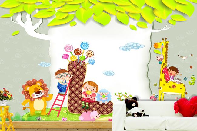 大树儿童动物可爱儿童背景墙