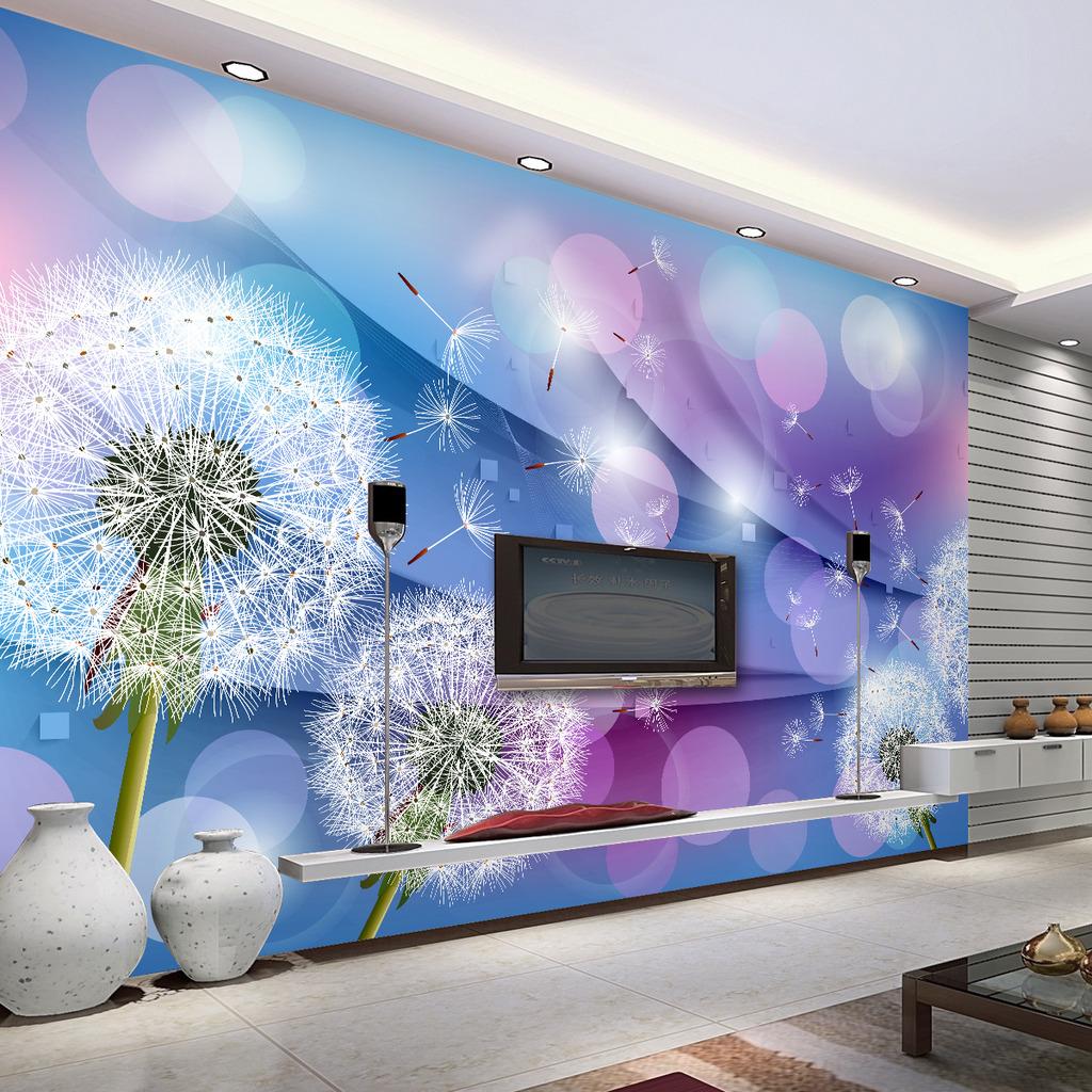 温馨浪漫蒲公英3d客厅电视背景墙壁画