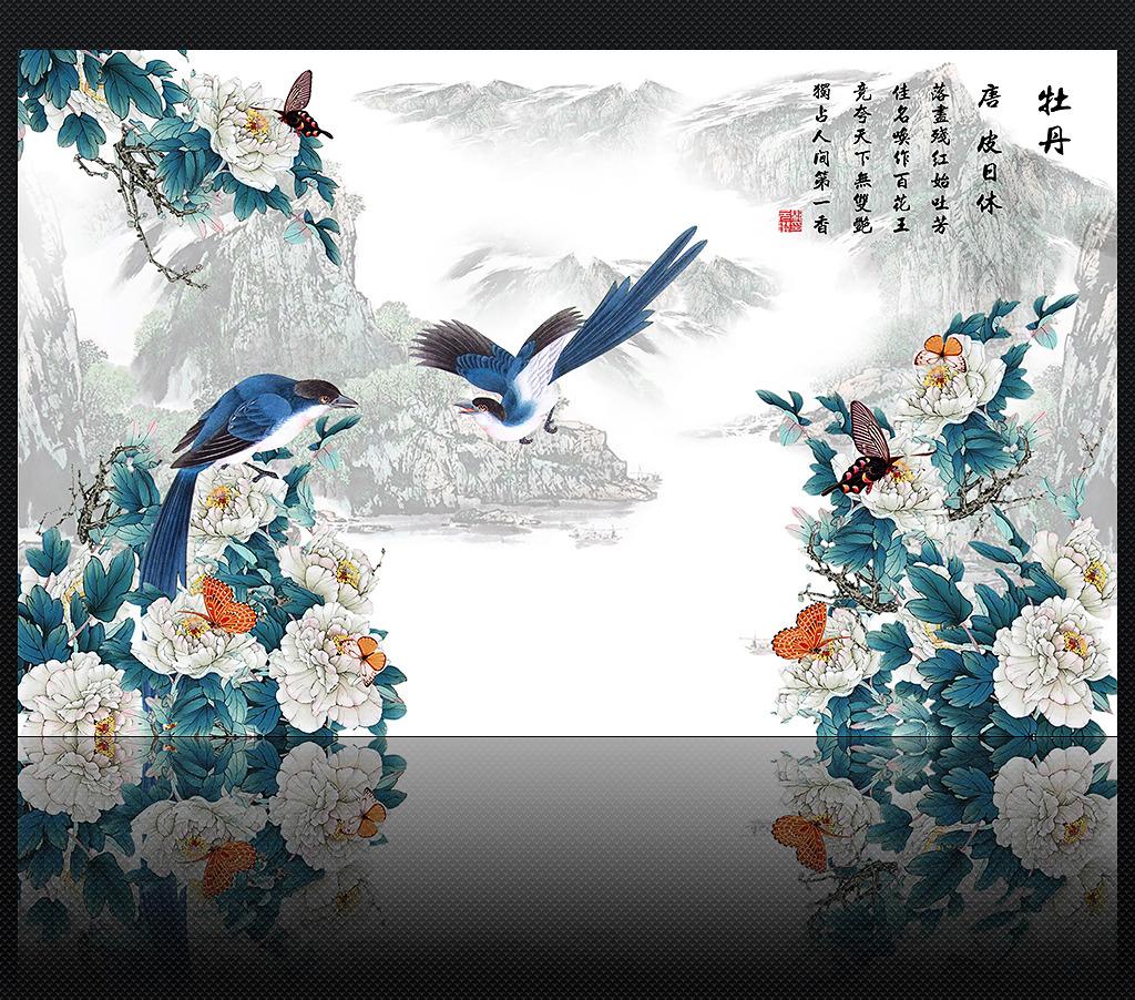 中式国画牡丹电视背景墙装饰画图片下载 牡丹电视背景墙 电视墙 装饰图片