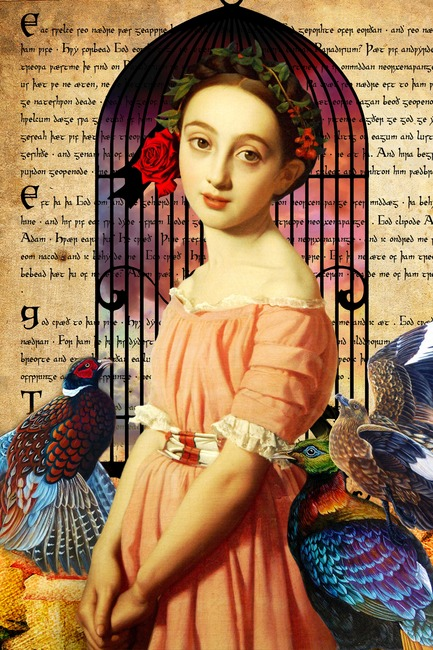 欧式古典复古风格竖版人物少女写实油画