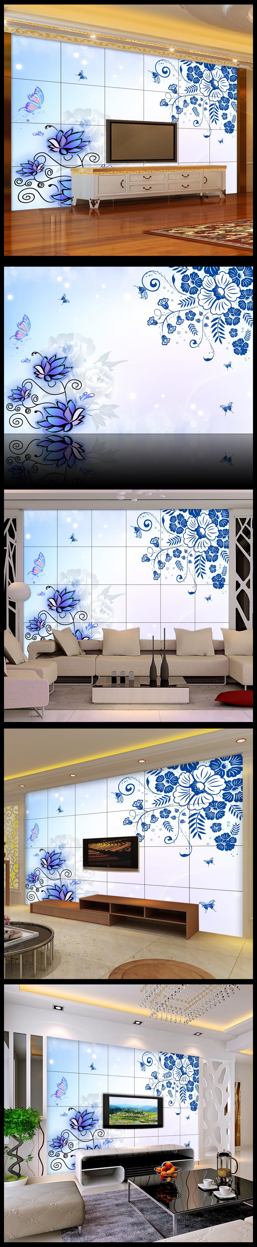 青花欧式花纹电视背景墙壁纸壁画