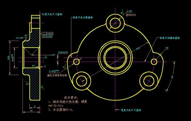 机械设计泵盖图纸图片下载 机械设计 泵盖图纸 cad 零件图