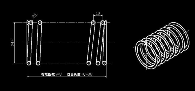 机械弹簧设计模板下载 机械弹簧设计图片下载 机械 弹簧 cad 零件图纸图片