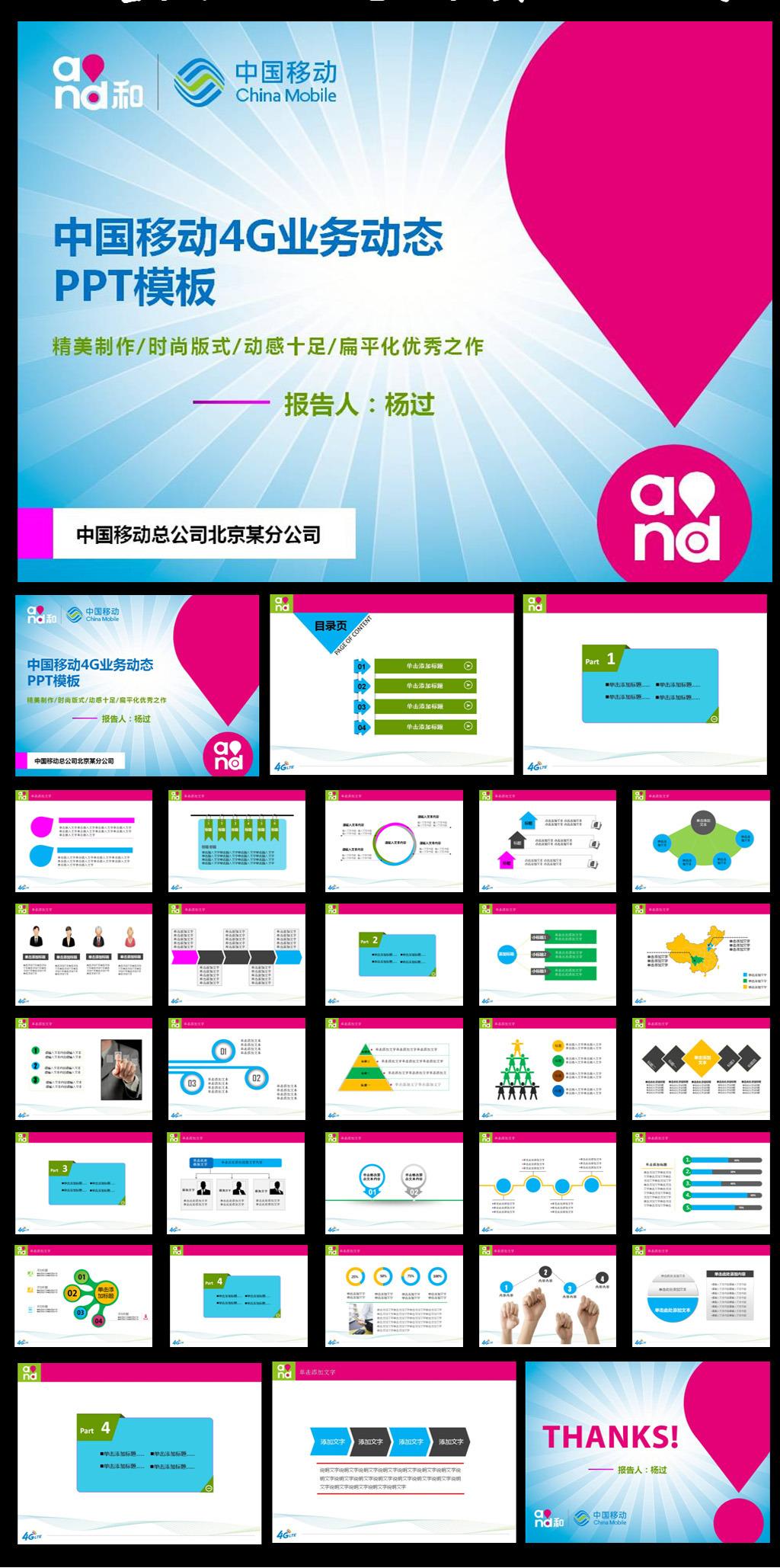 中国移动4g通信动态ppt模板