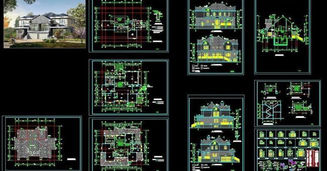 二层别墅施工图图片模板下载(图片编号:12122786)___.