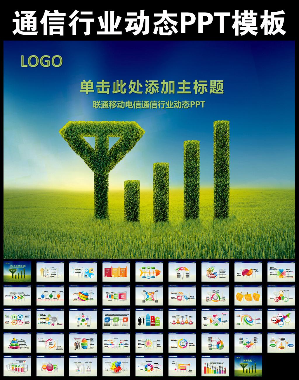 中国移动联通电信天翼通信行业ppt模板