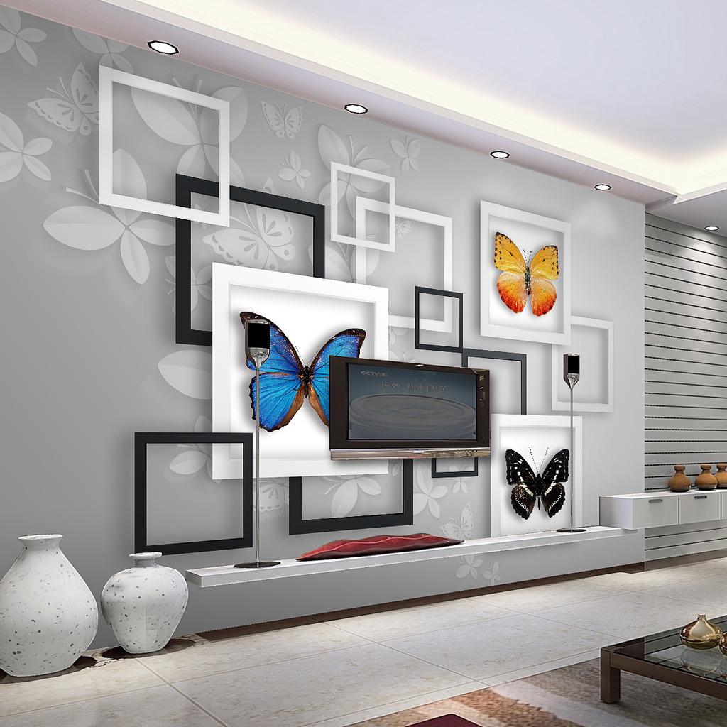 3d立体几何抽象梦幻蝴蝶客厅电视背景墙