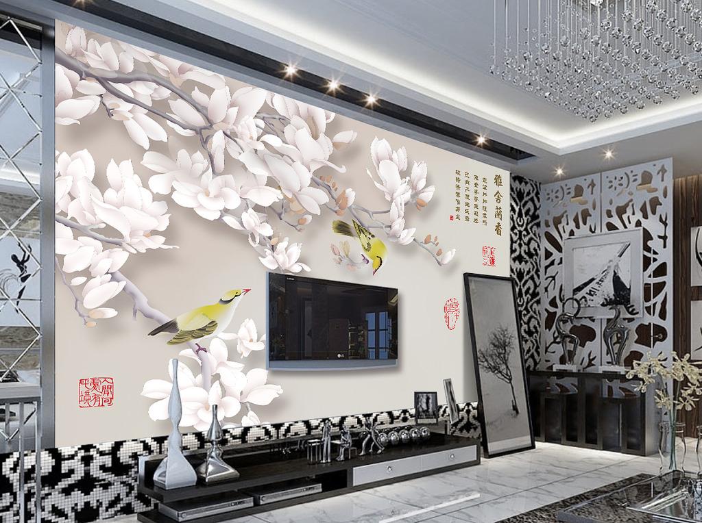 雅舍兰香现代唯美客厅电视背景墙装饰画