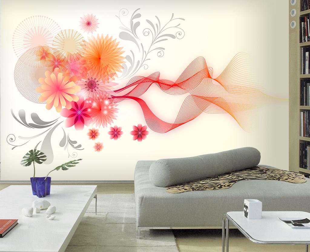 现代简约梦幻花卉电视背景墙壁画墙贴