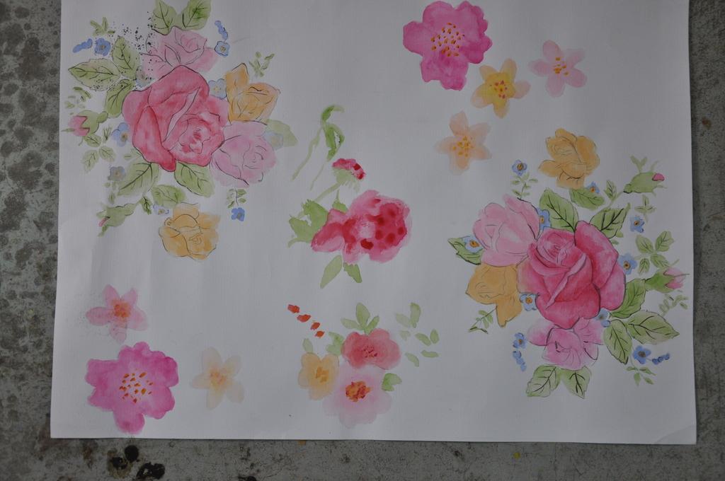水彩大花图案模板下载 水彩大花图案图片下载 手绘 印染 印花 服装花