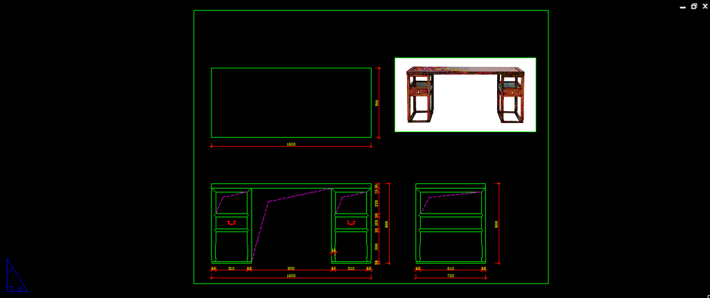 设计素材 书桌 cad书桌图纸 生产图纸 产品图纸 中式图纸 中式设计
