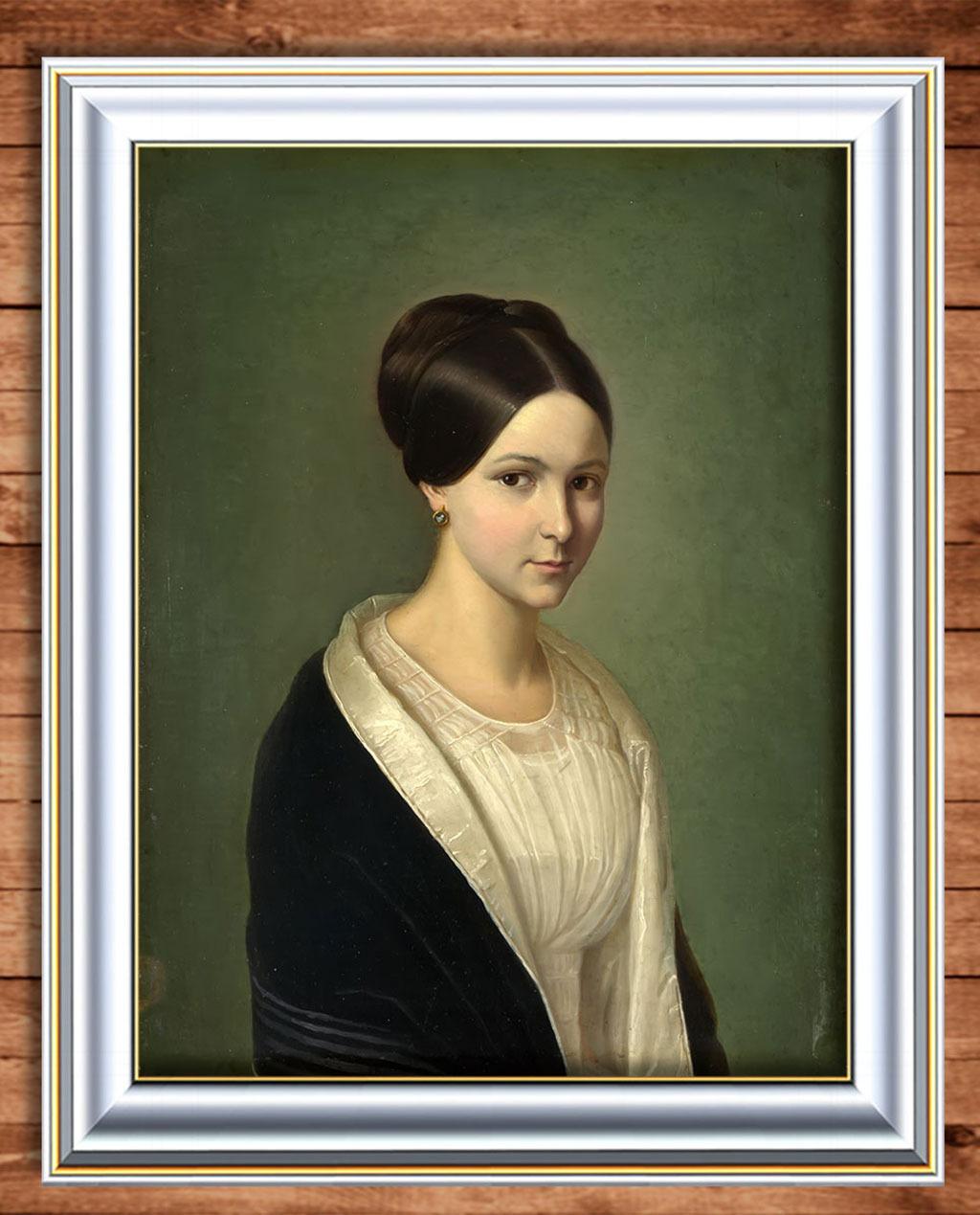 少女 黑衣/黑衣贵族少女古典主义油画