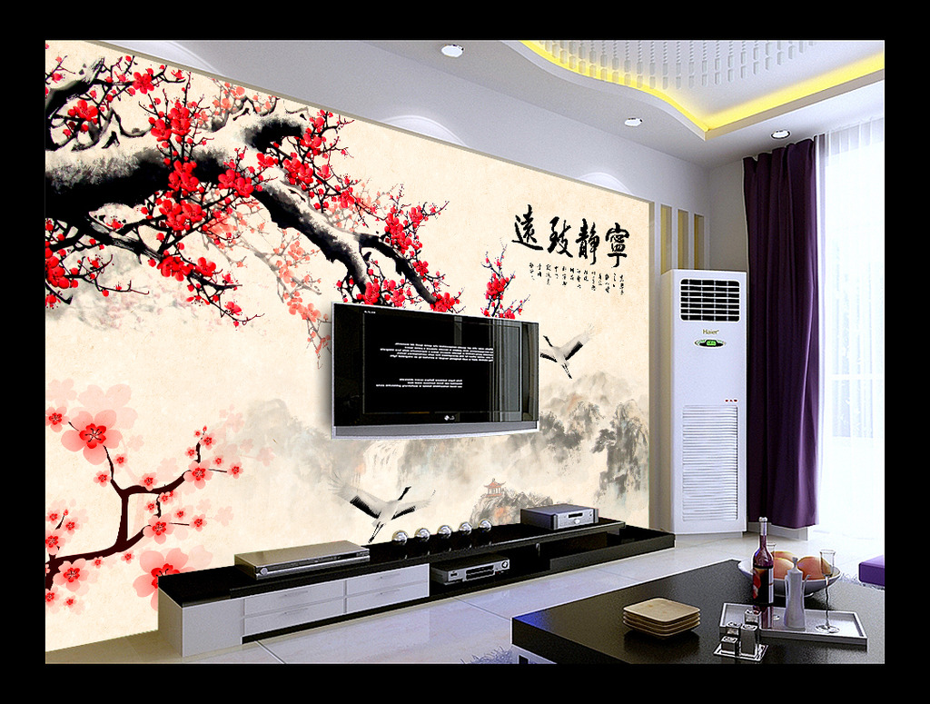 电视墙背景画