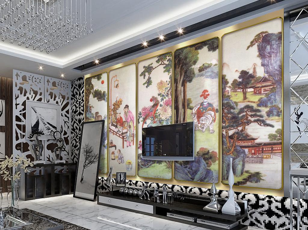 中式工笔画电视背景墙装饰画壁画模板下载(图片编号:)图片