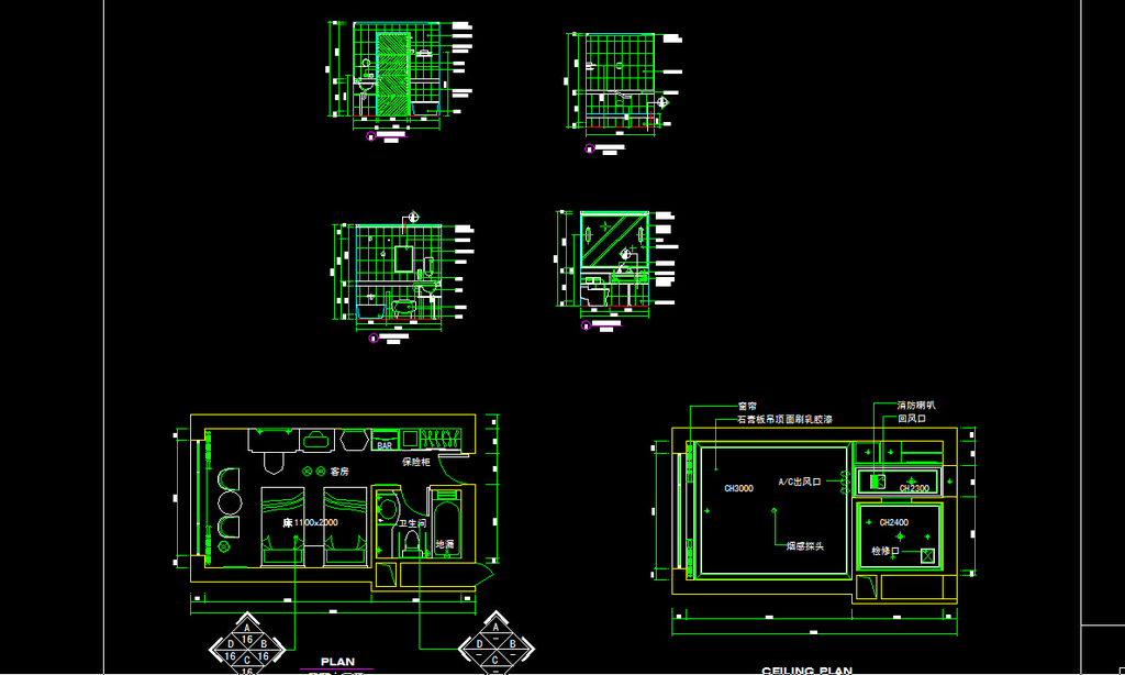室内设计 cad图库 酒店宾馆cad施工图 > 酒店客房cad图纸设计附施工材