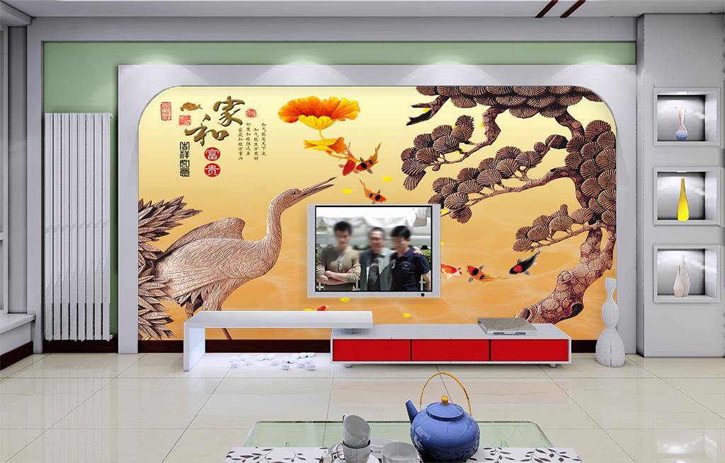 中国风浮雕客厅电视背景墙图片下载