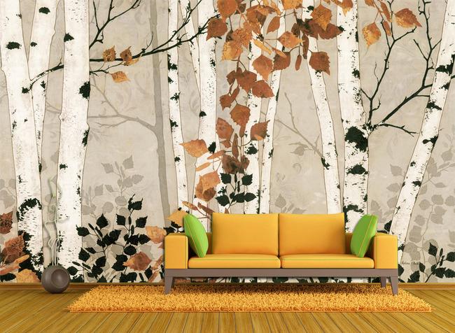 墙绘图案 高清背景墙大图 形象墙 墙画 壁画 油画风格 白桦 树林 落叶