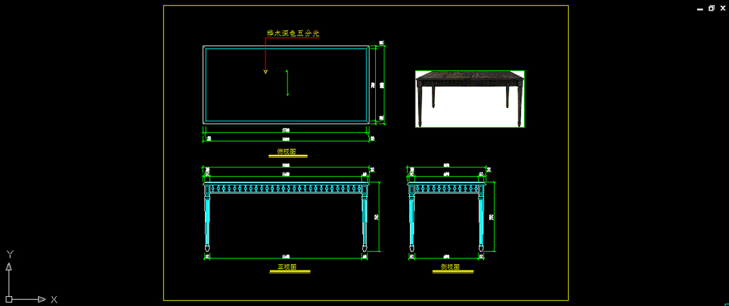 餐厅饮食cad施工图 > 室内家具之欧式餐厅餐桌实木
