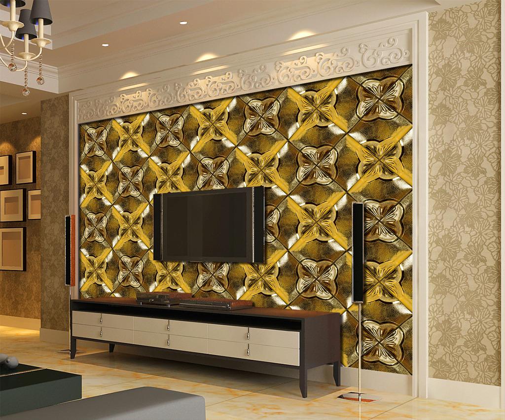 欧式3d浮雕立体软包花纹电视背景墙