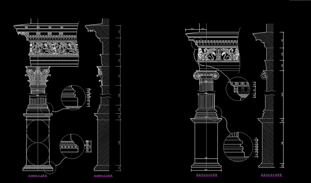 cad欧式图库细节剖面图造型部件立面