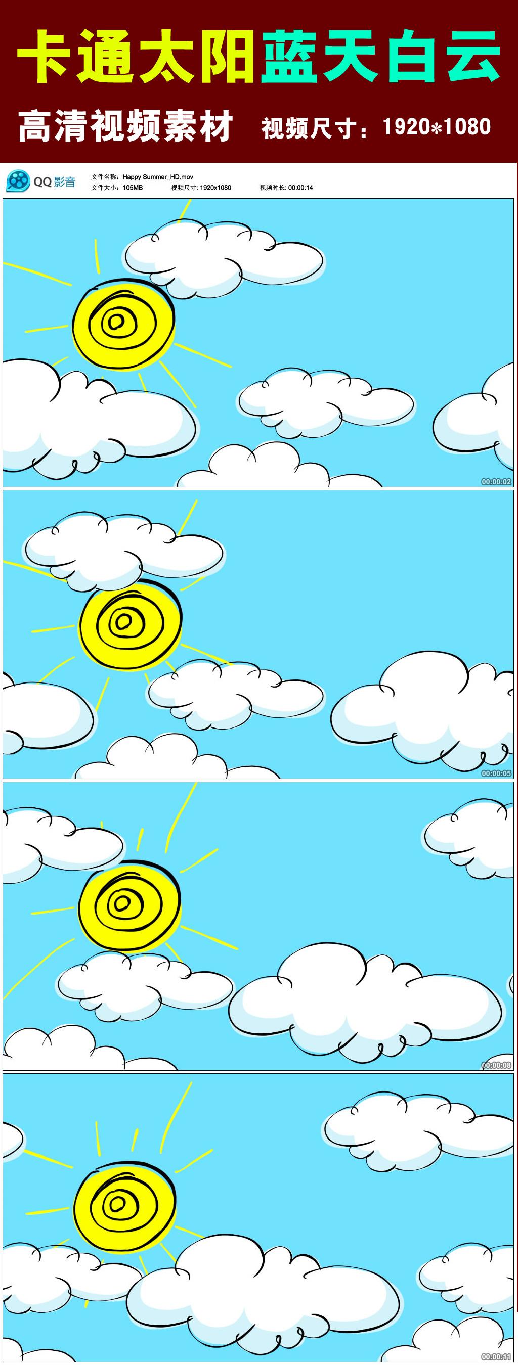 卡通太阳蓝天白云视频素材