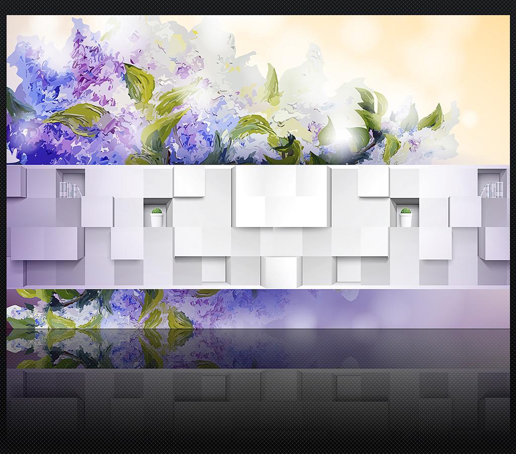 时尚淡雅水彩花卉手绘3d背景墙装饰画
