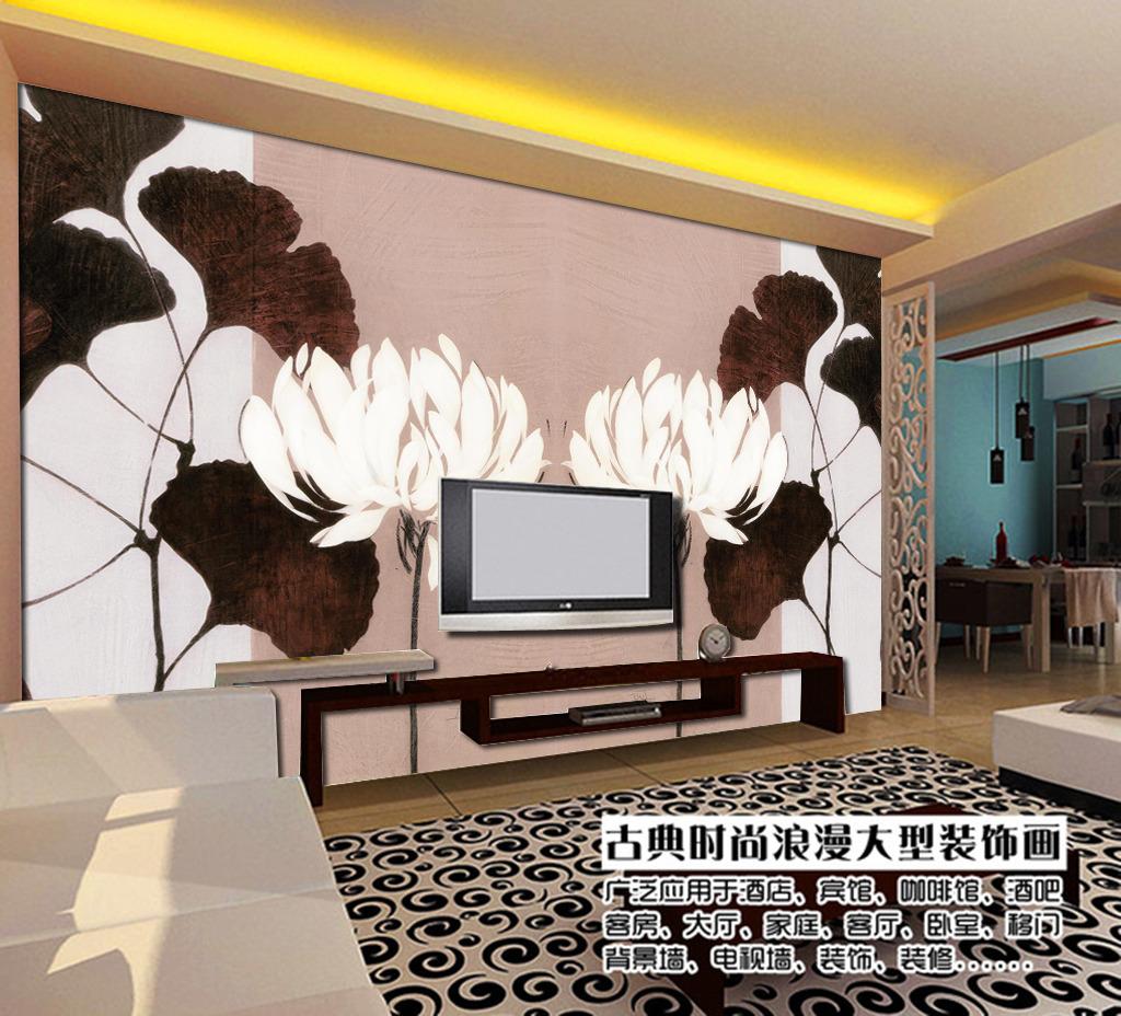 手绘风简约花卉背景墙图片下载 背景墙 电视背景墙 沙发背景墙 墙纸