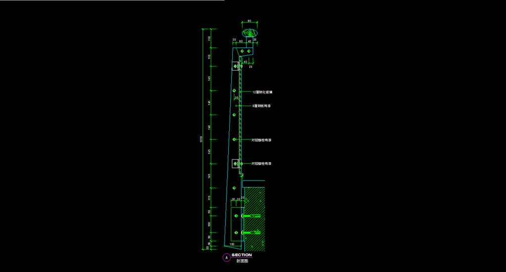 商场扶手栏杆配套cad施工图模板下载
