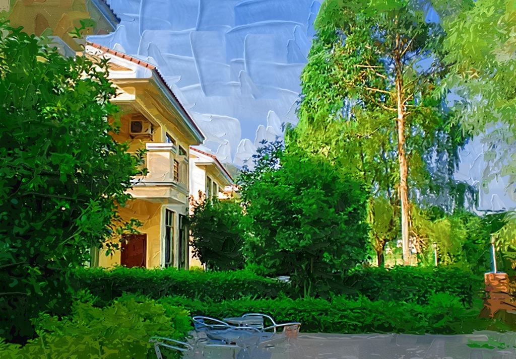别墅园林手绘风景图片
