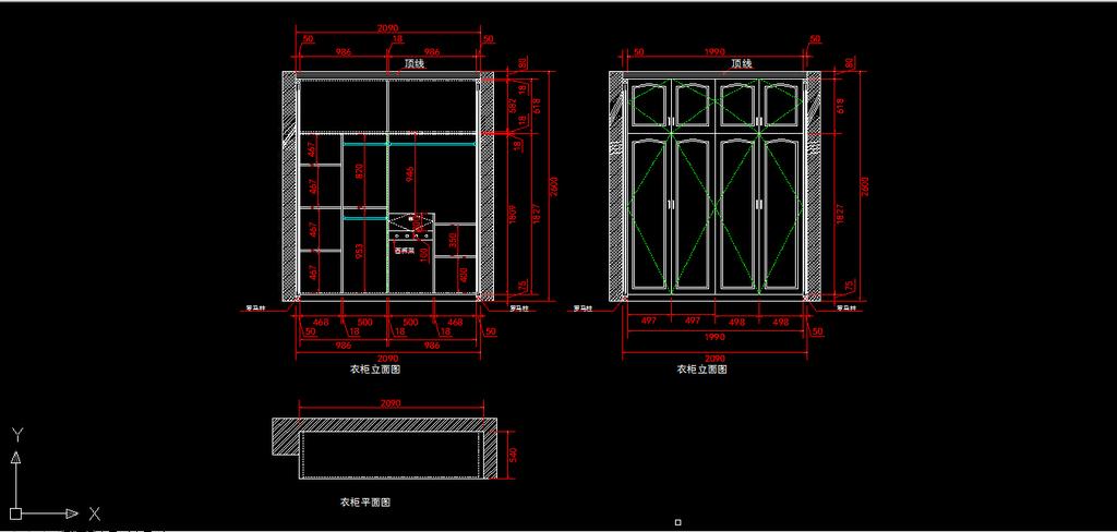 室内装修简欧衣柜cad图纸设计下载