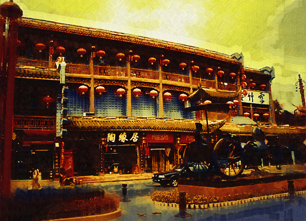 中式建筑油画图片