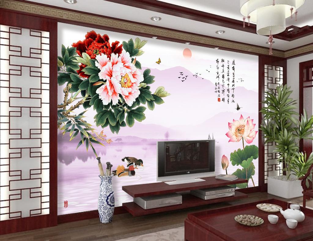 花开富贵牡丹荷花客厅电视背景墙模板下载(图片编号:)