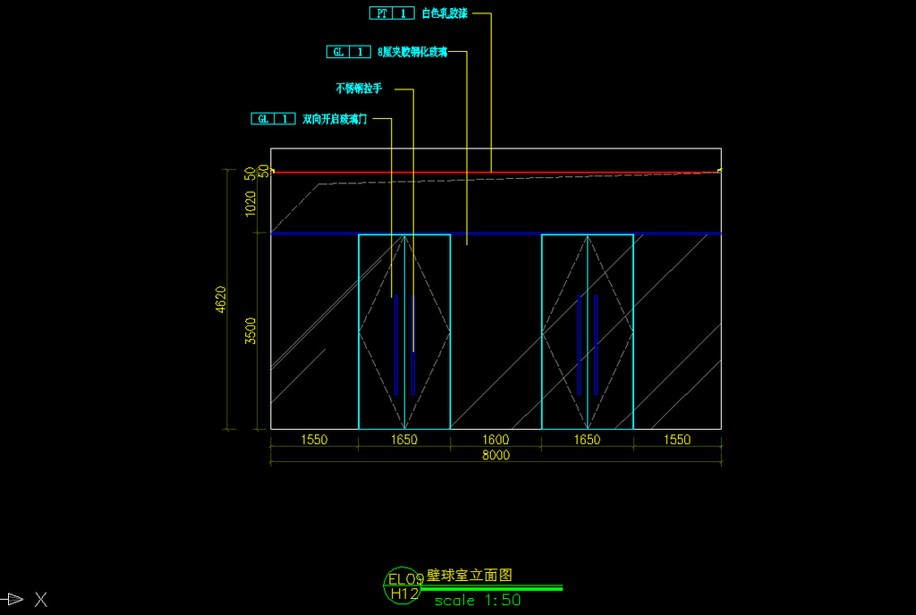 壁球室cad施工图模板下载