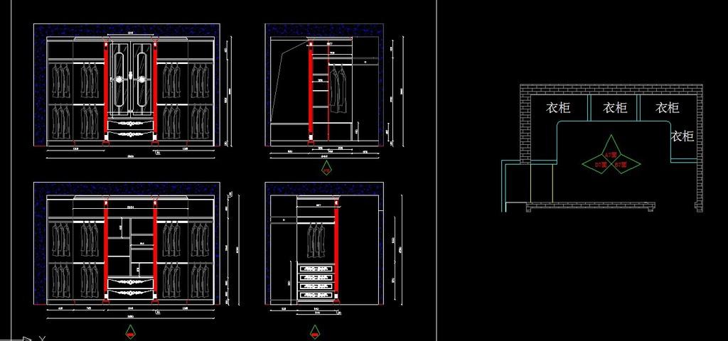 u式衣柜设计图纸