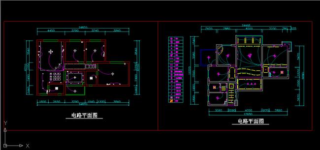 室内装修2个户型cad平面电路图设计下载
