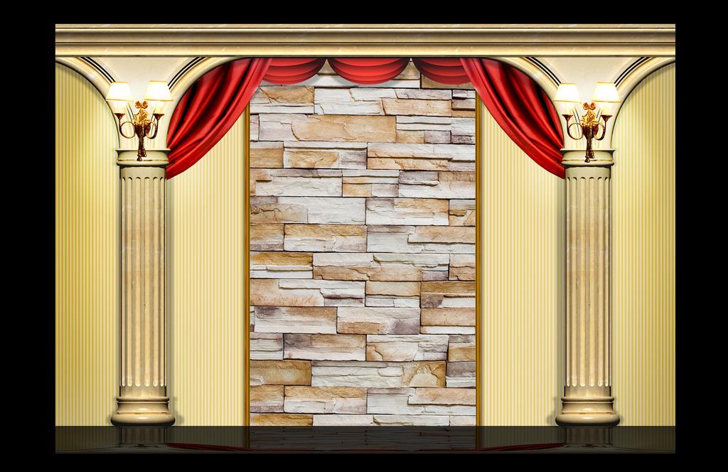 欧式罗马柱电视背景墙