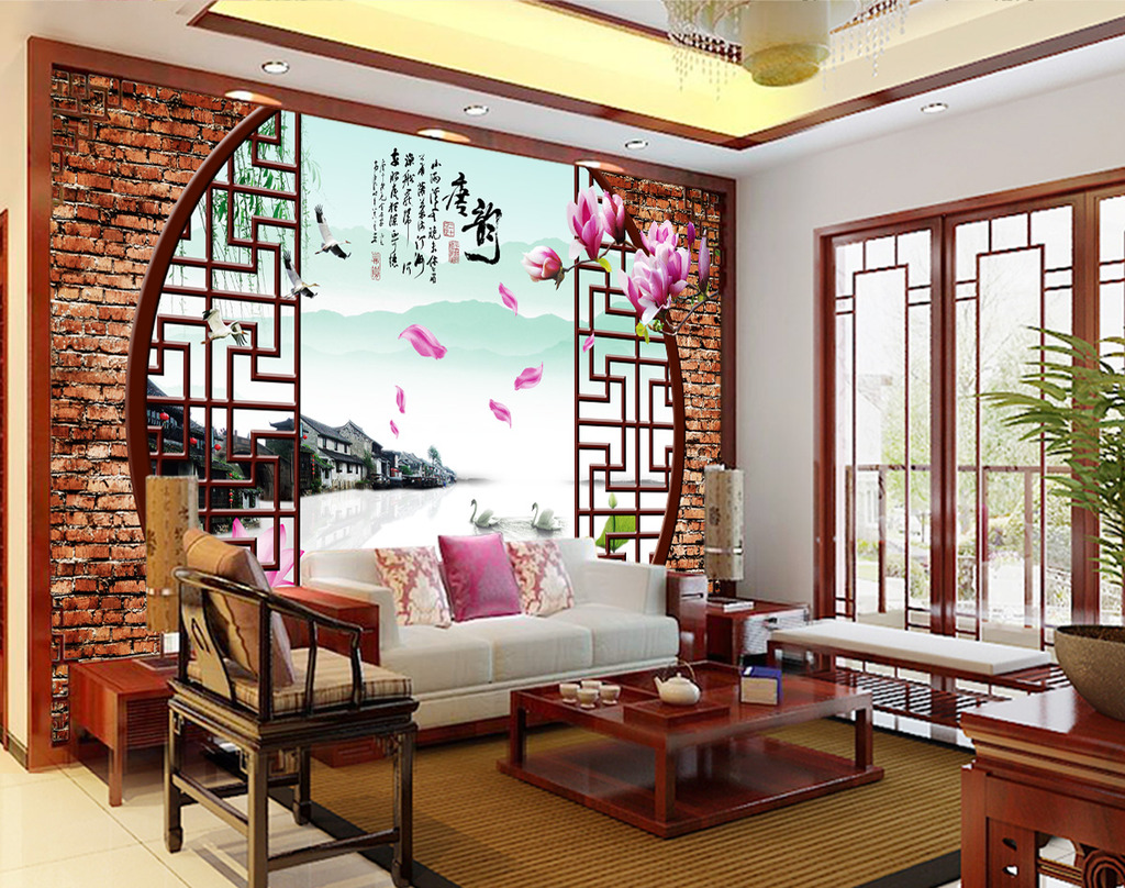 山水情唐韵3d电视背景墙