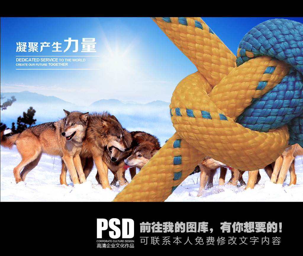 狼群精神企业文化海报设计模板下载 狼群精神企业文化海报设计图片