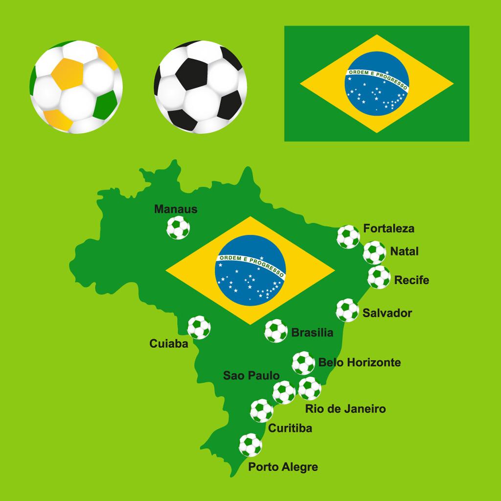 巴西世界杯宣传海报及32强国旗ai下载图片