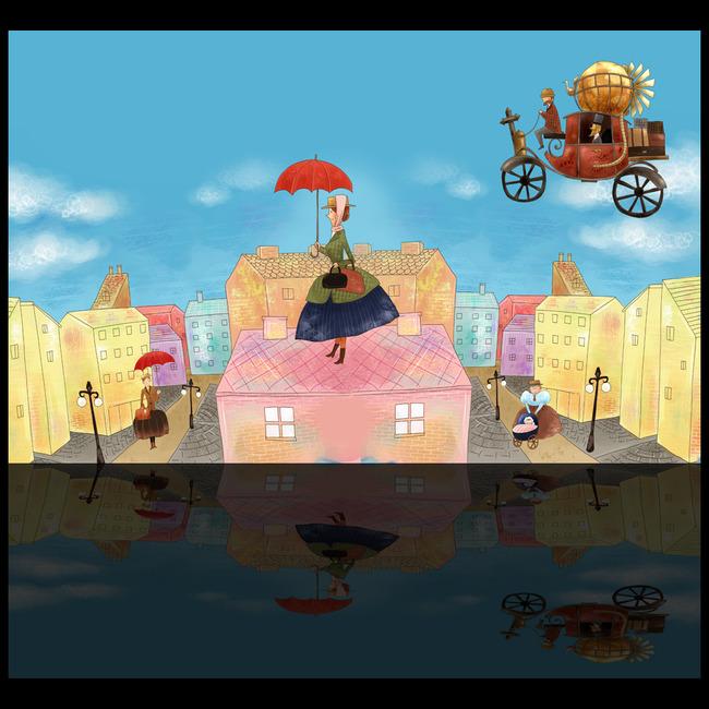 英伦风卡通儿童房背景墙模板下载(图片编号:12156479)