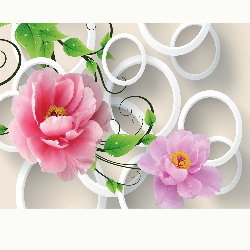 3d立体玫瑰花藤电视背景墙