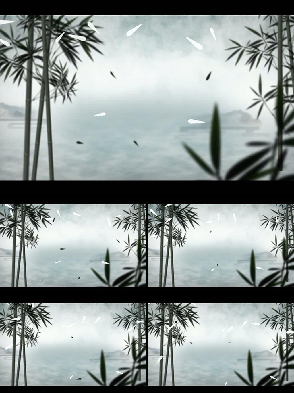 水墨中国风竹子林动态视频背景素材