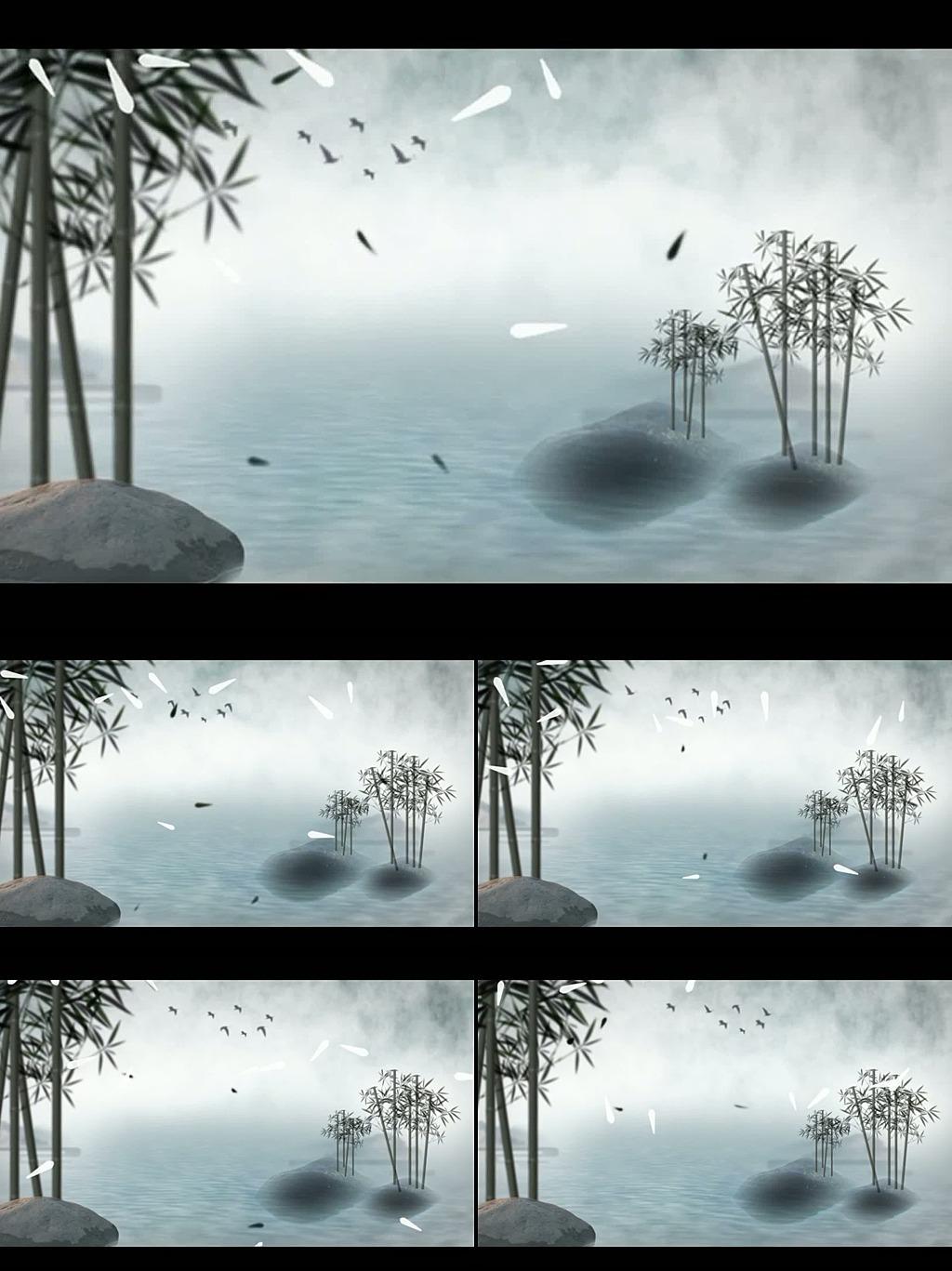 中国风水墨竹子动态视频背景素材