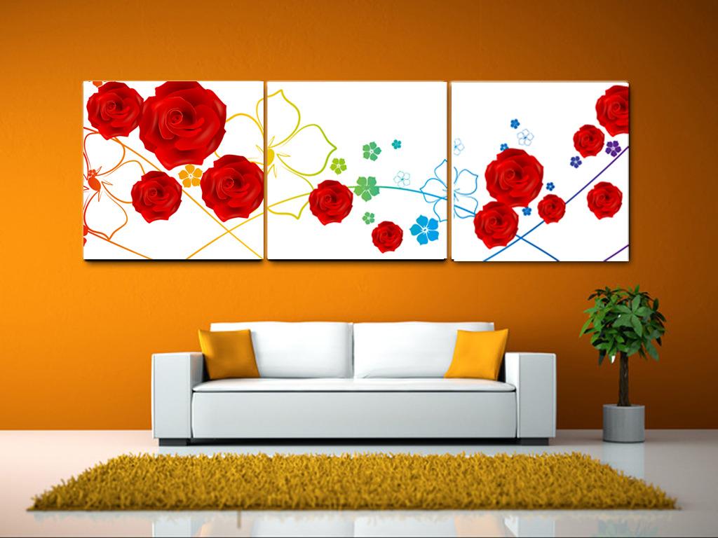 简约创意手绘墙画玫瑰花