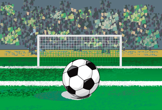 矢量足球场球门模板下载