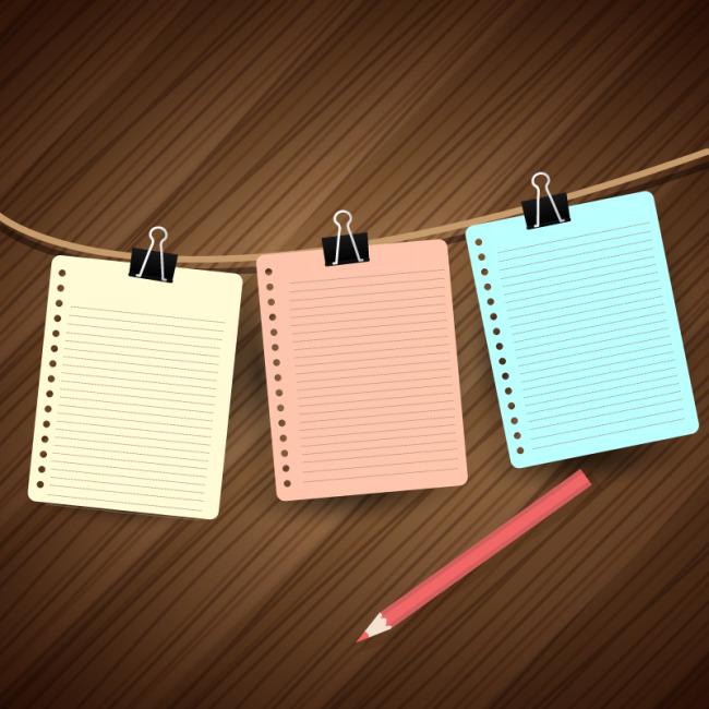 彩色铅笔与横格纸矢量素材模板下载