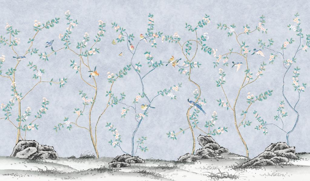 手绘图 欧式花鸟