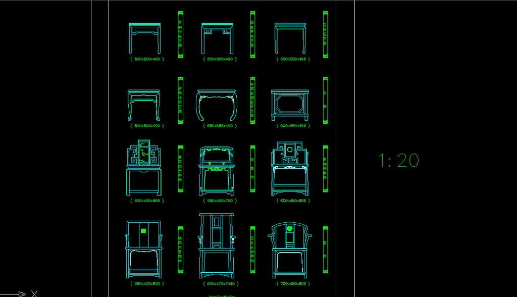 cad中式家具装修图模板下载