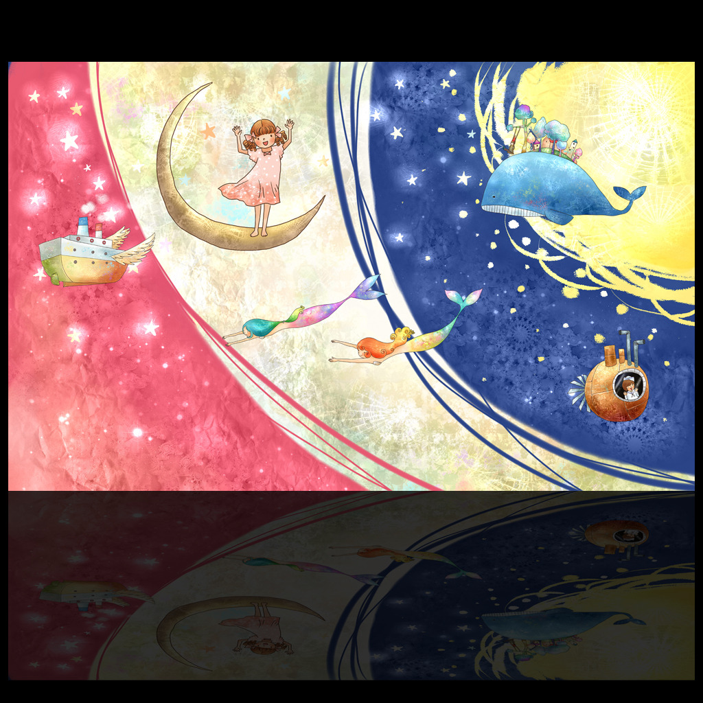 水彩风格星空卡通儿童房背景墙