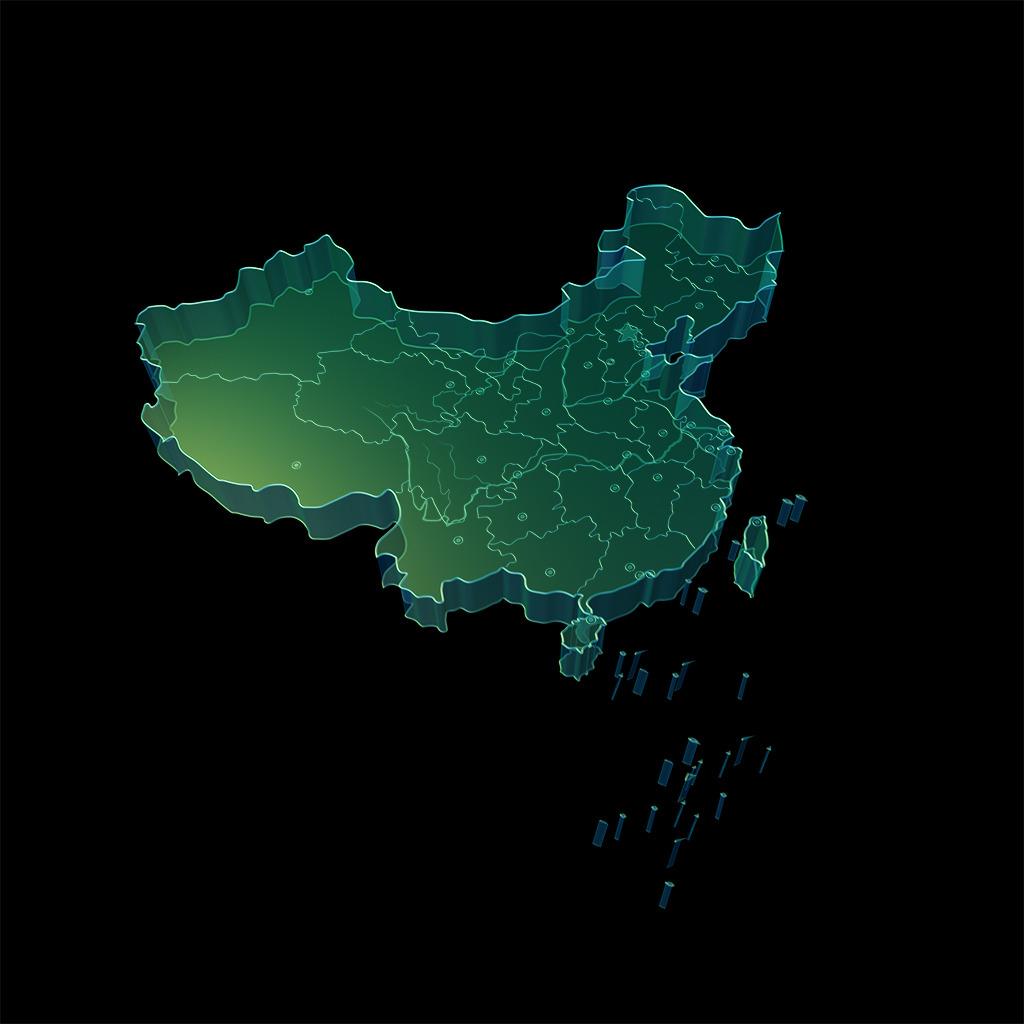 中国地图 质感 三维中国地图